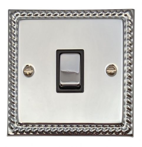 G&H MC301 Monarch Roped Polished Chrome 1 Gang 1 or 2 Way Rocker Light Switch